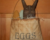 Prim Bunny bag with excelsior and eggs - Ready to Ship