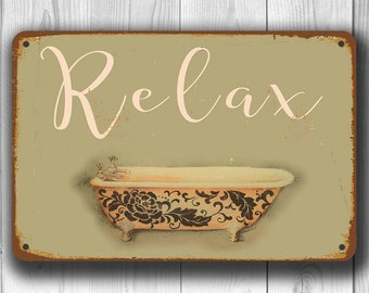 BATHROOM SIGN, Bathroom Signs, Vintage style Bathroom Sign, RELAX bathroom sign, Relax Sign, Bathroom Decor, Bathroom Wall Decor,