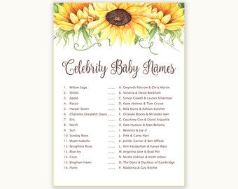 Baby Shower Games - Celebrity Baby Names Game - Floral Baby Shower - Floral Shower Games - Baby Names Game - Sunflowers