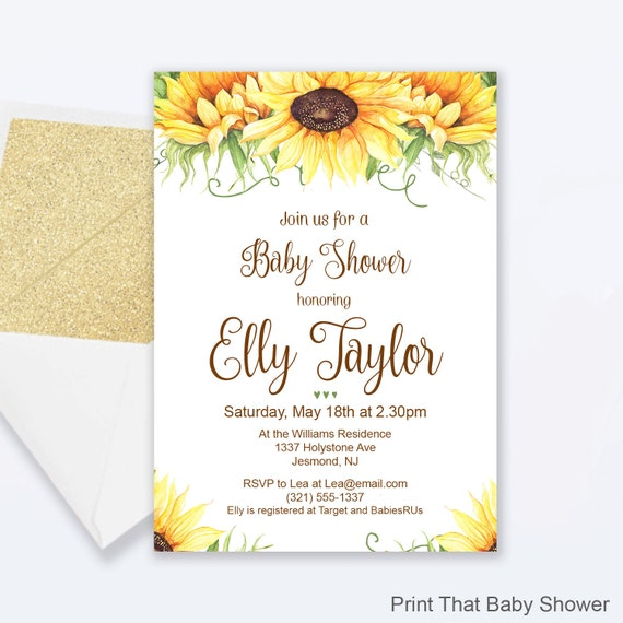 sunflower invite floral baby shower invite by print that baby shower