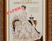 Queen Elizabeth II in Her Coronation Dress- Historial style Haute Couture Gown Counted Cross Stitch Chart Pattern