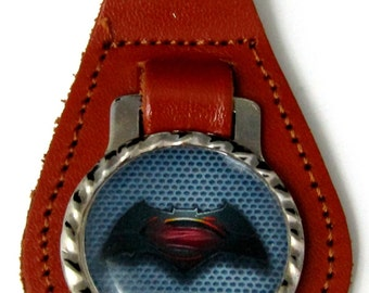 Superman Batman Brown Leather Key Fob With Steel Ring FOB-0056