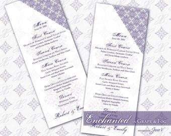 DIY Wedding Menu Printable   Editable Menu Card Template (tea length)   Enchanted in Grape & Fog