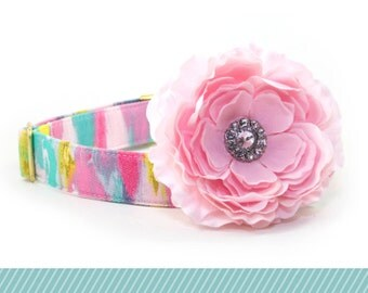Collar Flower - Size: 3.5 inch - Attachable Light Pink Flower with Rhinestone Center