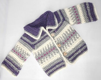 Childs Jacket/coat - crochet, handmade, 6-12 months 100% wool, warm and snuggly