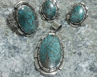 Number Eight Turquoise Jewelry Set; Ring, Pendant, Earrings, Handmade, Hallmarked