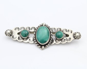 Western Style Sterling Silver and Malachite Brooch. [6416]