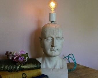 Phrenology Head Table Lamp Bust Statue Skull Reading Light Dorm Office Sculpture Pseudo Science Fowler Brain Modern Bare Bulb-MySecretLite