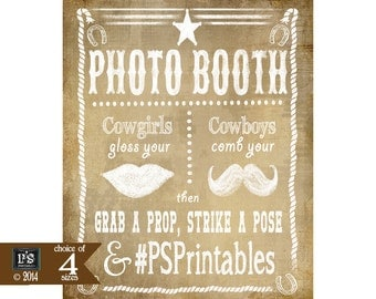 Personalized Western Photo booth Printable File with your social media hashtag - DIY vintage style photo booth sign