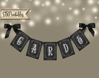 Printable Cards Banner, Chalkboard printable banner, Rustic wedding banner, DIY Graduation banner, DIY Party Banner, baby shower banner