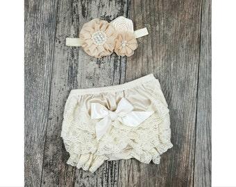 Rustic Romper Set // Baby Bloomers // Rompers // Baby Bikini Petti Romper // Newborn Gift // Baby Girl Gift