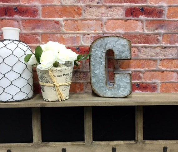 Metal Wall Letters Home Decor: Metal Letter C/Galvanized Metal Wall By TheShabbyStore On Etsy