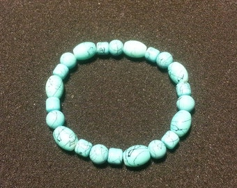Turquoise with black designs beads