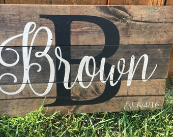 Initial and Last Name Pallet Sign