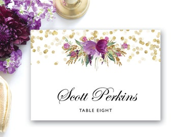 Printable Folded Place Card Template, Gold Confetti Place Cards INSTANT DOWNLOAD, Editable Text Microsoft Word, Folded Place Card The Carmel