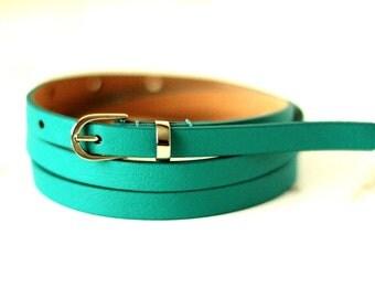 Free shipping! Leather belt, woman belt, green belt, green leather belt, turquoise belt, skinny belt, waist belt, narrow belt