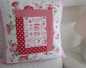 """Shabby Chic Patchwork Cushion   Cover   18"""" x 18"""""""