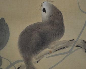 Squirrel & Moon Japanese Hanging Scroll Kakejiku Painting Landscape Calligraphy い13