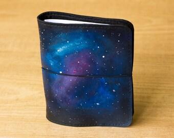 Galaxy Fauxdori, Midori, Travelers notebook, Faux leather journal, Refillable journal, Galaxy notebook, Vegan journal, Cosmos Midori