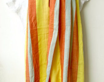 Orange Yellow Handwoven Cotton Scarf Women - Shawl/ Cowl/ Beach Cover - Gift for Her