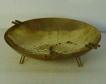 Art Deco hammered brass tripod bowl or ashtray