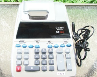 Canon MP18D Desktop Electronic Calculator Adding Machine 12 Digit 2 Color WORKS