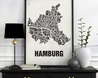 Hamburg Typographic Map Screen Print