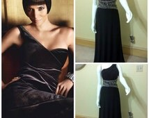 Flash Sale SALE Vintage Black Ball Gown, Black One Shoulder Low Back Beaded Gown, Goddess Evening Gown, Long Black Dress, Beaded Goddess Dre