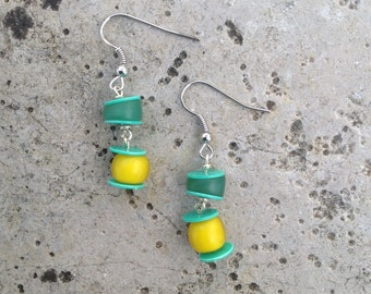 Green Vulcanite Earrings