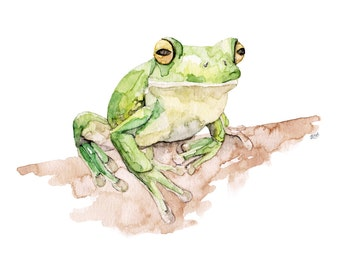 "Tree Frog Painting - Print from Original Watercolor Painting, ""White Lipped Tree Frog"", Kids Room Decor, Green Frog, Frog Wall Decal, Frog"