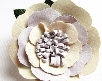 Cream leather flower corsage, brooch pin, hair clip, cream & white flower, leather flower, cream flower on a multi pin/croc clip Ruby62 UK