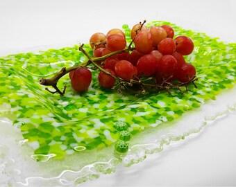 NOW HALF PRICE Rectangular lime green fused glass platter / serving dish. Decorative tray. Wedding anniversary, birthday, housewarming ideas