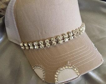 Trucker Hat,  Bling Trucker Hat, Bling Hat, Womens Hat, Sworovski Crystal Hat, Bling Hats,