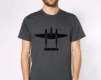 KillerBeeMoto: Lockheed P-38 Lightning Fighter Plane Top View Short & Long Sleeve Shirt