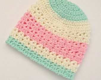 knitted kid's hat, girl's beanie hat, children's beanie hat, kid size beanie, crochet winter beanie hat, toddler's beanie, kids wear