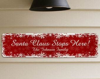 Personalized Christmas Sign, Santa Claus Sign