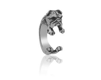 English Bulldog Ring in Silver Tone