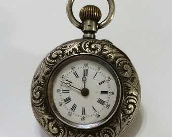 Antique, Coin Silver, .800, Pocket Watch, Silver, Jacot, Engraved, Steampunk Supplies, Jewelry, Beading, Supply, not working