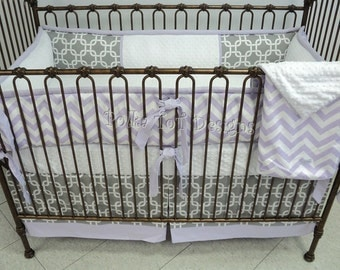 Lavender and Gray Baby Girl's Bedding: Leah