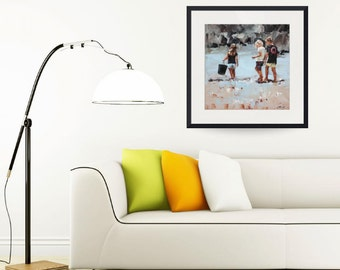 Limited edition print, impressionist art, modern art, classic art, childhood print from painting, wall art, 'Collecting Pippies II'.