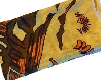 Vintage Scarf Woman's Scarf in Bold Graphic Yellow and Brown Print