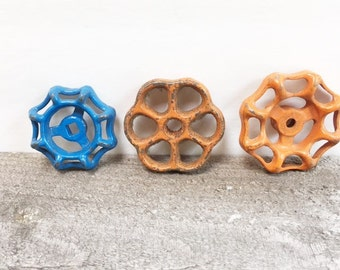 Vintage Metal Faucet Handles Set of Three Orange and Blue Uniquely Shaped Faucet Knobs Industrial Decor