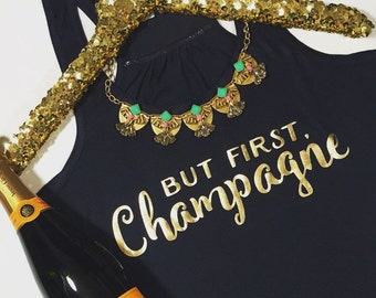 But First, Champagne Flowy Racerback Tank, XS-2XL, Yoga Shirt, Workout Top, Tank Top, Champagne Tank Top, Champagne Apparel, Brunch Apparel