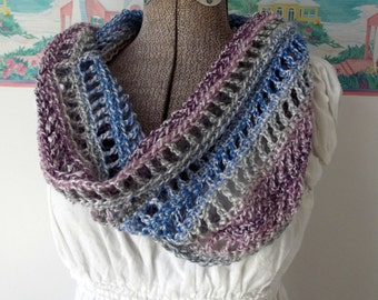 Handmade Crochet Cowl Pullover Breastfeeding Cover Privacy Blue Purple Lavender Soft Scarflet Collar Scarf