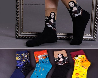 Set of 4 Pairs: Oil Painting Cotton Socks (Da Vinci, Van Gogh, Klimt, Edvard Munch) - Mona LIsa, Starry Night, The Kiss, The Scream-  #S099