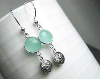Aqua blue chalcedony sterling silver earrings Aqua chalcedony earrings Gemstone earrings Long dangle earrings Oxydized sterling earrings