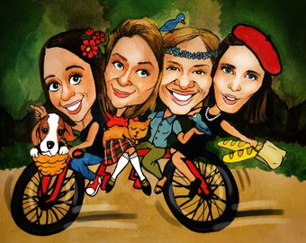 Family Caricature hand-drawn from your photo. Custom personalized cartoon gift