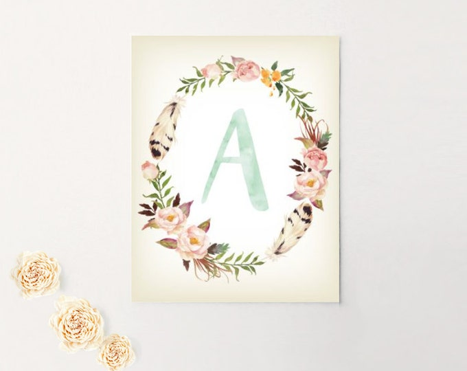 Nursery Art, Monogram, Letter, Baby Girl, Personalized, Canvas, Art Print #mono2
