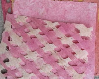 Beautiful spring colors amate handmade papers set pinks