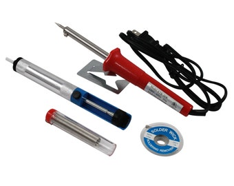 Universal Tool Complete 5pc Soldering Iron Kit with Wire Wick Stand & Pump